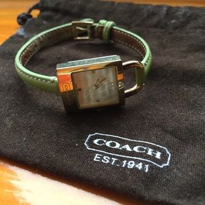 Coach Women's Watch with Green Leather Strap